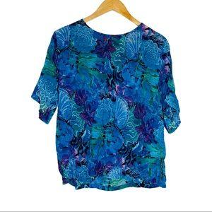 Vintage Orvis Rayon floral top blouse